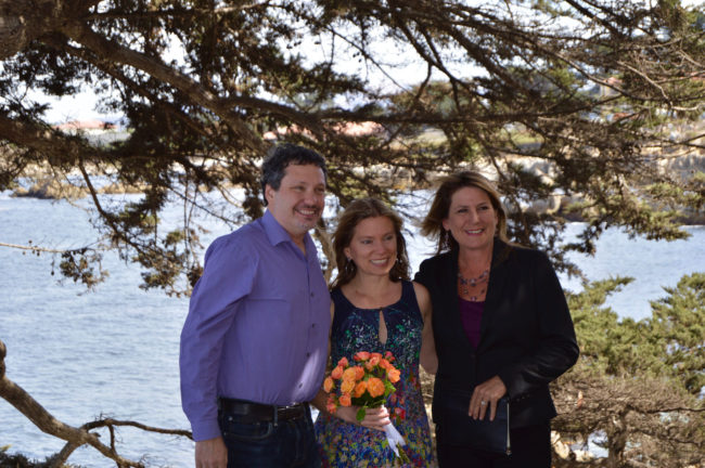 Sherilyn Russo with couple after ceremony